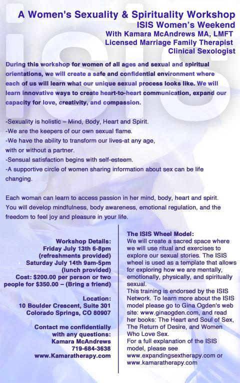 ISIS Spirituality Workshop Colorado Springs